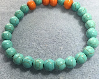 Turquoise and wood bead bracelet