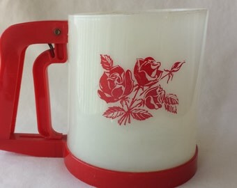 1950's Plastic Sifter, Vintage Red and White Flour Sifter With Red Rosed