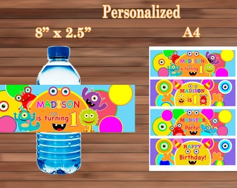 Monster Water Bottle Labels, Monster Birthday Party favor, Personalized Bottle Labels, Printable PDF