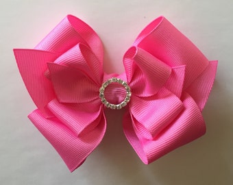 Large Stacked Bubblegum Pink Bow with Crystal Bling