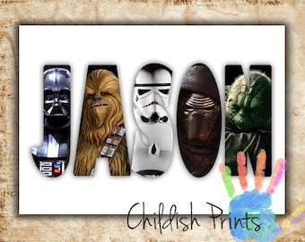 personalised STAR WARS character name art gift idea printable - Darth Vadar, R2-D2, C-3PO, Storm Trooper, Yoda, Kylo Ren, Chewbacca