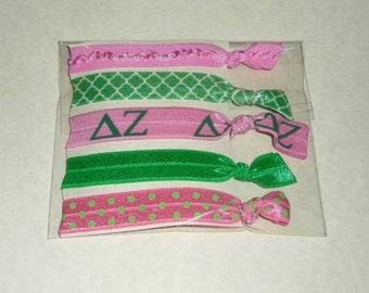 Delta Zeta Fold Over Elastic Hair Ties/ Headbands