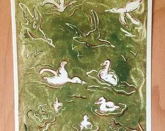 Down at the Duck Pond in Green {monotype}