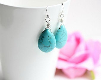 Turquoise Teardrop Earrings - Wire Wrapped Turquoise Dangle Earrings - Turquoise Howlite Jewelry - Turquoise Earrings in Sterling Silver