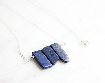 Lapis Lazuli Bar Necklace -Lapis Lazuli Necklace - Royal Blue Lapis Lazuli Necklace - Gemstone Jewelry