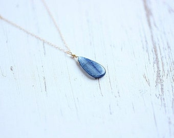 Kyanite Necklace - Gemstone Necklace - Blue Pendant  Necklace in Sterling silver or Gold filled - Blue Kyanite Teardrop Stone necklace