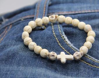 man bracelet beads bone skulls