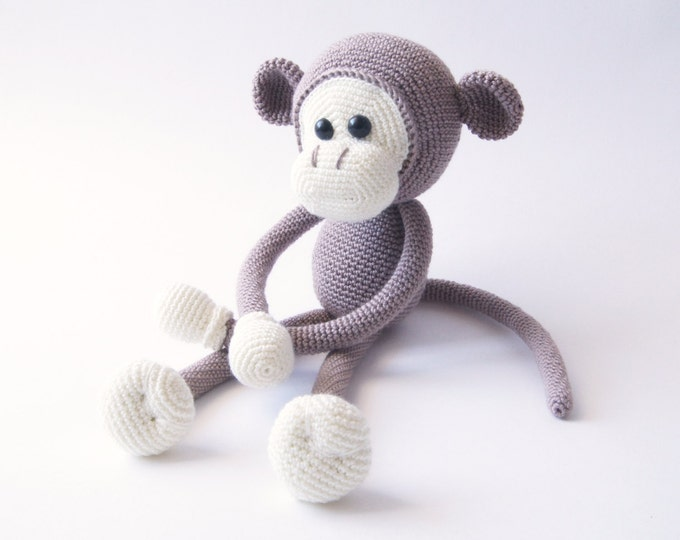 Monkey Jungle Animals Handmade Crochet Toy Doll Amigurumi Stuffed Toy Christmas New Year Gift