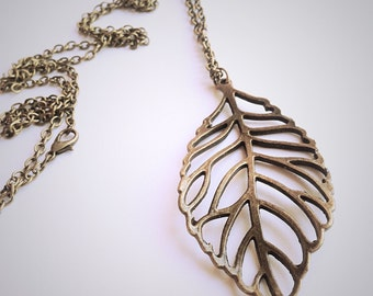 Leaf Necklace, Bronze Leaf Pendant, Bronze Curb Chain, Woodland Jewellery, Long Leaf Necklace