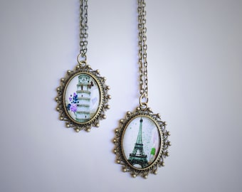 The Eiffel Tower / Leaning Tower of Pisa Necklace, Italy / France Glass Cabochon Pendant, Paris Necklace, Travel Vintage Jewellery