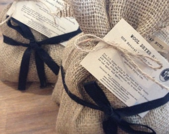 Natural Laundry Pack 3 Wool Dryer Balls & 250g Organic Soap Nuts Packaged In Handmade Biodegradable Hessian Bags Eco Friendly