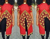 Red African Print High Target Long Top|| African Print Tops, Red Tops, Womens Blouses, Blue Tops, Long Tops