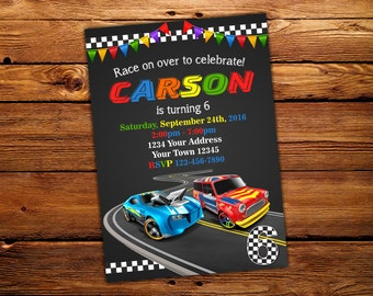 Cars Invitation. Birthday invitation. Racing birthday Invitation. Track. Cars.