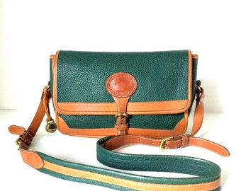 Vintage Dooney & Bourke Green British Tan Messenger Satchel Crossbody Bag