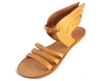 "Ancient Greek Sandals ""Hermes Winged"". Light Brown Leather Sandals. Mythology inspired Sandals. Handmade in Greece."