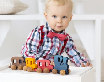 Gift for Boy, Toddler Gift, Train, Wooden Train Set, Train Toddler Toy, Gift for Toddler Train Push Toy, Toddler Toy, Christmas Gift Train