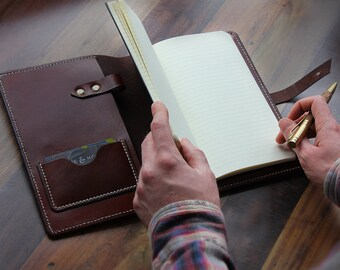 Handmade A5 Leather Notebook Cover with Closure