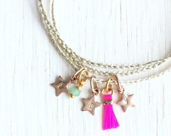 SIENNA - Bracelet personnalisé tresse et gravure charms - Argent ou plaqué or et cordon doré