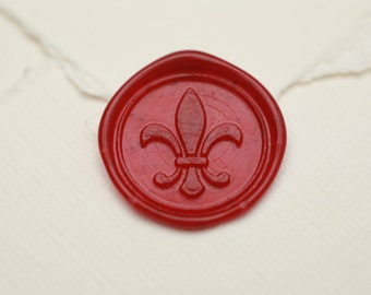 Fleur De Lis Letter Wax Seal, Peel & Stick Custom Color Medieval Renaissance Wedding Invitation Sticker, Envelope Seal Party Favor Box Decal