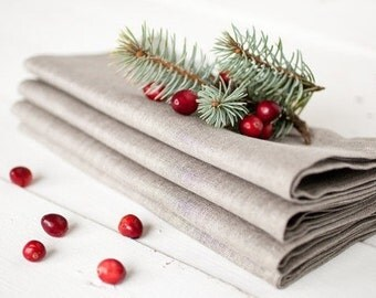 Linen napkins set 12 - Christmas napkins - Wedding napkins 18.5'' x 18.5'' - Gray napkins - Organic napkin cloths - Dinner napkins