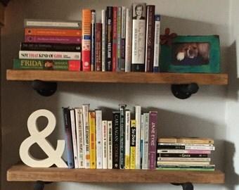 "Industrial Floating Shelves Set of 3 - 10"" Depth  with Pipe Support Brackets, Industrial Shelves, Book Shelf, Rustic Shelves, Display Shelf"
