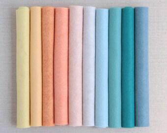 Wool Felt // Mermaid Lagoon // Pastel Felt Assortment, Water Color Palette, Merino Felt Sheets, DIY Craft Supply, Wool Felt Kit, Wool Blend