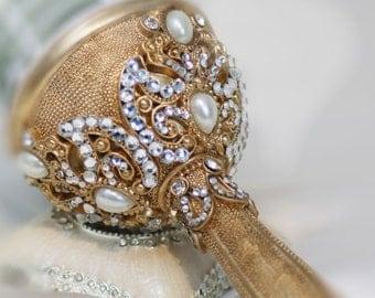 Gold Brooch Bouquet Holder
