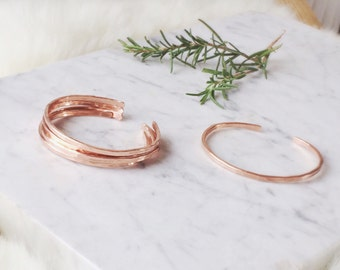 Minimalist Copper Stacker   Stacking Bracelet   Rose Gold Hammered Cuff   Spring Style