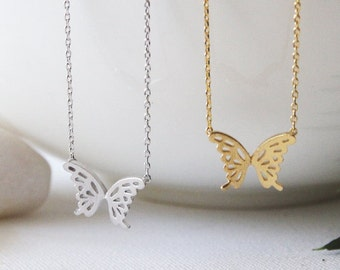 Butterfly Necklace in Silver/ Gold. Collar Bone Necklace. Birthday Gift. Mother's Day Gift. Everyday Wear. Gift For Her (PNL-150)