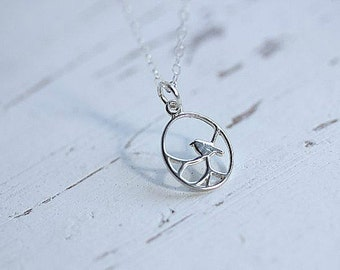 Silver bird necklace - Bird necklace in Sterling silver - Bird in a circle necklace - Delicate necklace - Minimalist Jewelry