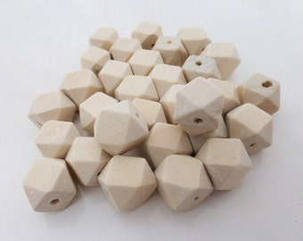 20 x Small Geometric Faceted Wooden Beads 12mm, Craft Supplies, Beads, Wood, UK Seller (OBT5021)