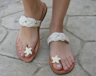 """Greek Leather Sandals """"Dioni"""",Women's Navy Rope Shoes,Bridal sandals,Ancient Greek Sandals,Decorated sandals"""