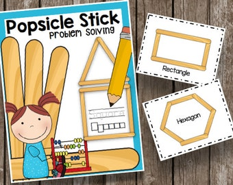 Popsicle Stick Shapes - Busy Bag - Preschool - Kindergarten - Toddler - Classroom Center - Travel Game - Worksheets