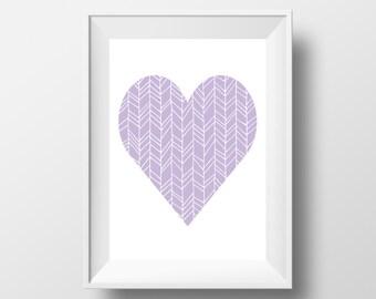 Heart Wall Art, Lavender Print, Nursery Print, Heart Printable, Nursery Printable, Lavender Decor, Purple Print, Chevron Heart
