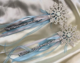 Snowflake Wand Flowergirl Wand Girls Frozen Party Wand more colours available