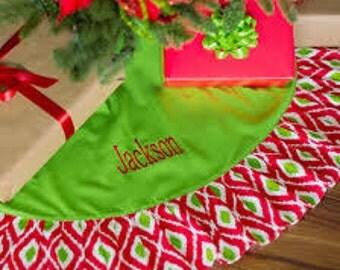 Christmas Tree Skirt, Monogrammed Tree  Skirt, Monogrammed Christmas Tree Skirt, Personalized Tree Skirt, Ikat Christmas Tree Skirt
