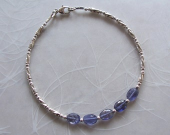 """Iolite Gemstone with Sterling Silver Delicate Dainty Bracelet ~ 7"""" Length ~ Gift For Her ~ Stacker"""