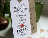 Thank You For Sharing Our Special Day Personalised Wedding Card Favour Tags  Contemporary Red Heart Lg H