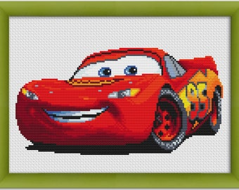"PDF Cross Stitch Pattern ""Lightning McQueen"", ""Cars""  Instant Download"
