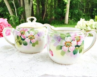 Vintage Nippon Creamer & Sugar Set: Pre WWII Set, Hand Painted Creamer and Sugar, Japanese Creamer and Sugar set, Floral Creamer Sugar