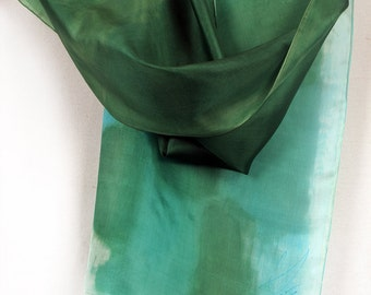 Hand painted silk scarf. Green and aqua scarf painted by hand. Small scarf. Geometric, abstract painting on silk by Dimo. Holidays gift
