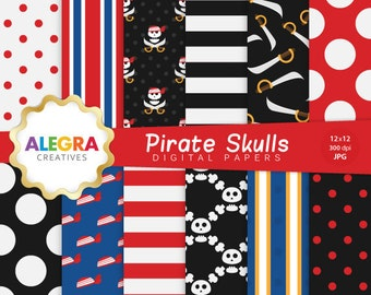 80% OFF SALE - Pirate Skulls Digital Paper - Pirate Scrapbook Papers - Skulls, Swords - Red, Black, Blue - Instant Download - P003