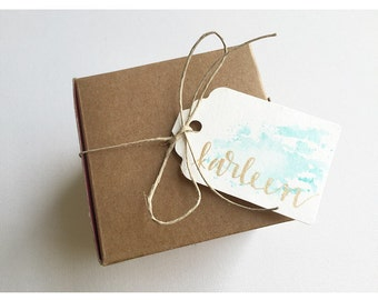 Custom Watercolor Tags // Set of 12 // Gift Tags // Special Occasion // Handlettered // Hand Punched