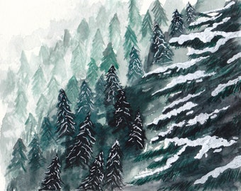Snowy Pines - Watercolor Print