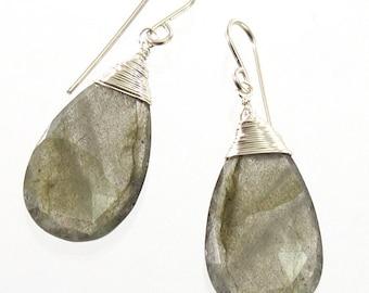 Labradorite Earrings, Sterling Silver