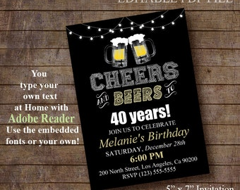 Cheers and Beers to 30, 40, 50 years, Birthday party invite, Printable Editable PDF File Invitation Instant Download A852