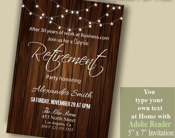 Printable Retirement Invitation, Self editable invitation, You type your own text with Adobe Reader PDF file A1015