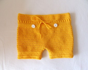 Baby Shorts, Yellow baby shorts, Baby Pants, Crochet Baby Shorts, Soft Baby Clothing, Baby Boy Gift, Baby Girl Gift, Newborn Clothing