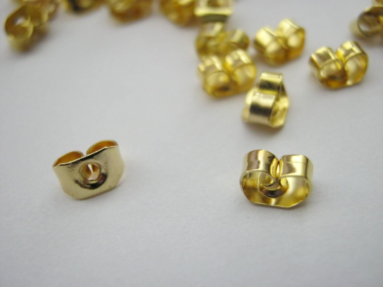 100 gold earring backs butterfly stoppers earring nuts 50