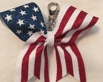 American Flag Cheer Bow Keychain